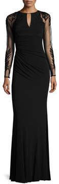 David Meister Sheer-Sleeve Jersey Column Gown, Black