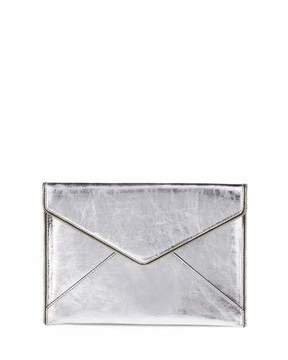 Rebecca Minkoff Leo Metallic Envelope Clutch Bag, Silver - SILVER - STYLE