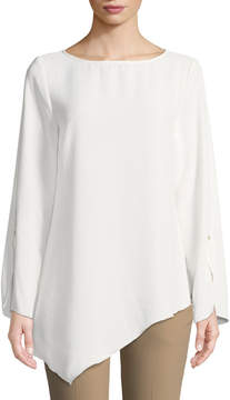Joan Vass Asymmetric Split-Sleeve Blouse