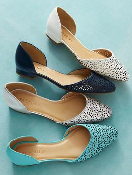 Talbots Edison Vachetta Leather Perforated D'Orsay Flats