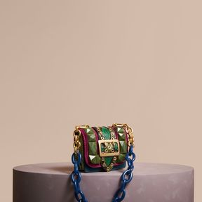Burberry The Mini Square Buckle Bag in Calfskin - DAMSON - STYLE