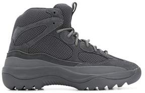 Yeezy Men's Grey Leather Ankle Boots.