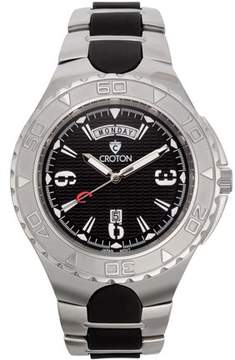 Croton Men's Super C Quartz Watch with Black Dial & White Markers and Stainless & Silicon Bracelet