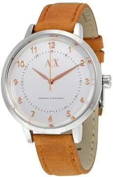 Armani Exchange Brushed Silver Dial Light Brown Leather Ladies Watch