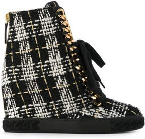 Casadei tweed wedge sneakers