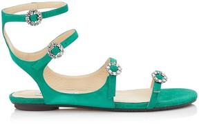 Jimmy Choo NAIA FLAT Emerald Suede Sandals with Swarovski Crystal Buckles