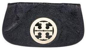 Tory Burch Patent Leather Logo Clutch - BLACK - STYLE