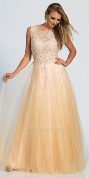 Dave and Johnny Daisy Embellished Keyhole A-line Evening Dress