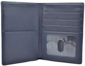 Royce Leather ROYCE RFID Blocking Bifold Passport Currency Travel Wallet Handcrafted in Genuine Navy Blue Leather
