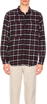 Engineered Garments Plaid Flannel Work Shirt in Checkered & Plaid,Blue.