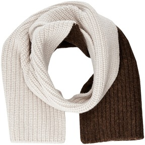 Marni Asymmetrical Color Detail Rib Scarf