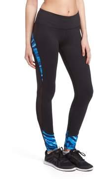 ABS by Allen Schwartz Black & Blue Stripe Contrast Mesh-Accent Leggings - Women