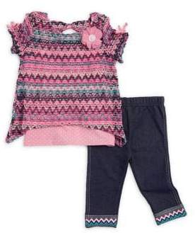 Little Lass Baby Girl's Three-Piece Multi-Print Top, Tank, and Capri Set