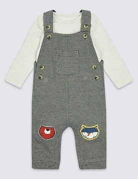 Marks and Spencer 2 Piece Applique Knee Dungarees & Bodysuit Outfit