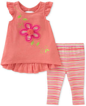 Kids Headquarters 2-Pc. Flower Tunic & Striped Leggings Set, Baby Girls