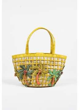 Nancy Gonzalez Pre-owned Yellow Crocodile Palm Tree Embellished Small Tote Bag.