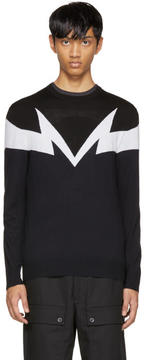 Neil Barrett Black and Navy Mirrored Thunderbolt Pullover
