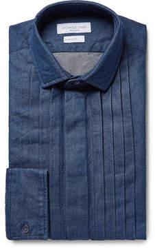 Richard James Blue Pintucked Washed Cotton-Chambray Shirt