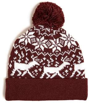 21men 21 MEN Men Knit Deer Snowflake Beanie