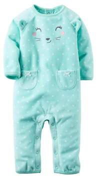 Carter's Infant Girls Green Dot Cat Face Fleece Jumpsuit Coverall Outfit 18m