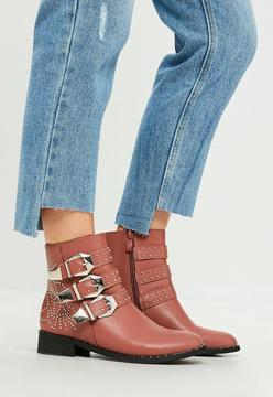 Missguided Pink Multi Buckle And Stud Ankle Boots
