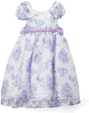 Laura Ashley White & Lavender Floral A-Line Dress - Infant & Girls