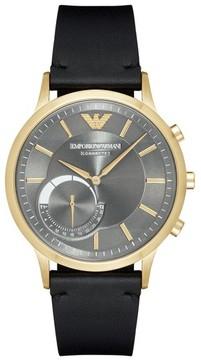Emporio Armani Leather Strap Hybrid Smart Watch, 43Mm