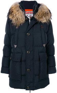 DSQUARED2 raccoon fur hooded coat