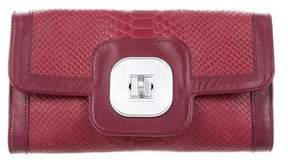 Longchamp Embossed Leather Clutch - BURGUNDY - STYLE