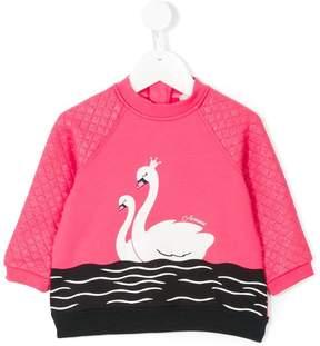 Armani Junior glitter quilted swan sweatshirt