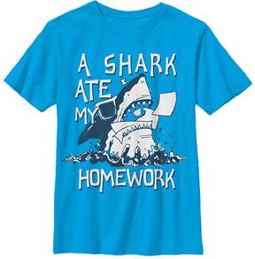 Fifth Sun Turquoise Homework Shark Crewneck Tee - Boys