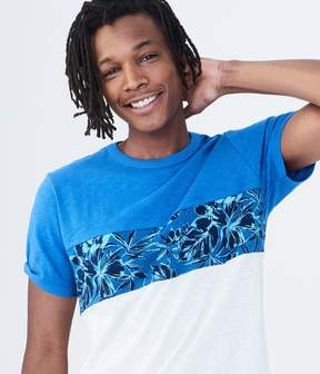Aeropostale Floral Chest Stripe Graphic Tee