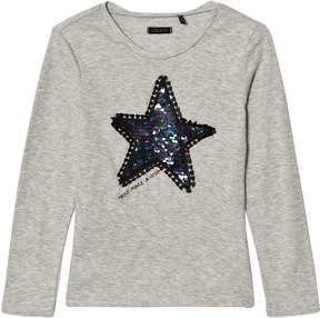 Ikks Grey Marl Sequin Star Long Sleeve T-Shirt