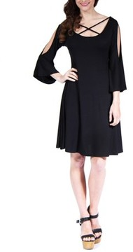 24/7 Comfort Apparel Women's Abstract Neck Split-Sleeve Dress