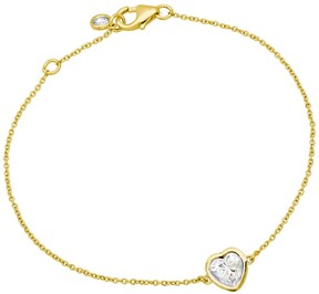 Crislu 18K Gold Plated Sterling Silver Bezel Set CZ Heart Pendant Bracelet