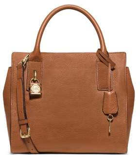 MICHAEL Michael Kors Mckenna Luggage Leather Medium Satchel Bag - LUGGAGE - STYLE