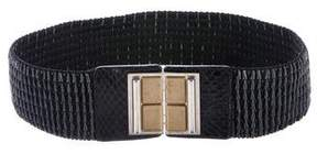 Etro Snakeskin-Trim Waist Belt