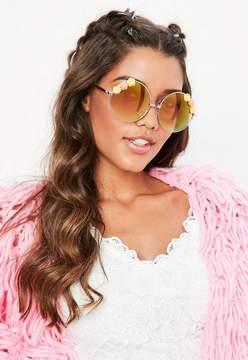 Missguided Gold 3 Flower Circular Sunglasses