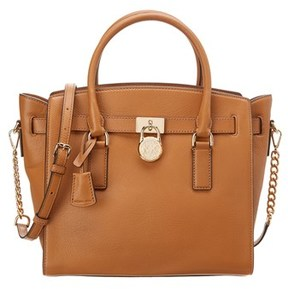 MICHAEL Michael Kors Hamilton Large Leather Satchel. - TAN - STYLE