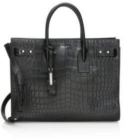 Saint Laurent Medium Croc-Embossed Leather Briefcase