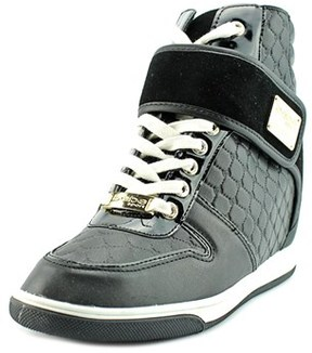 Bebe Sport Colby Women Leather Black Fashion Sneakers.