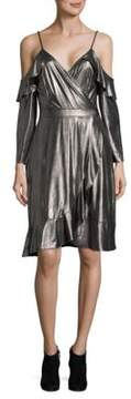 Collective Concepts Ruffle Metallic Cold Shoulder Dress
