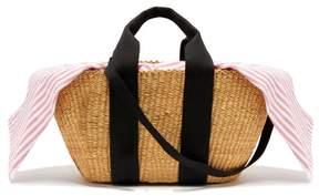 Muun George Capri Canvas And Woven Straw Bag - Womens - Pink Stripe