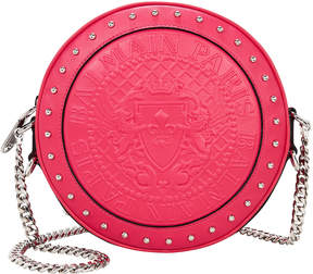 Balmain Disco Studded Circle Red Crossbody Bag