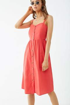 Forever 21 Button-Down Pocket Cami Dress -Red