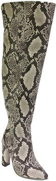 Bamboo Black Snakeskin-Embossed Madam Over-the-Knee Boot