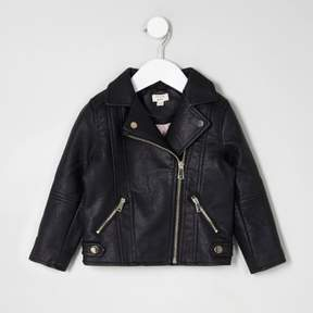 River Island Mini girls black faux leather biker jacket