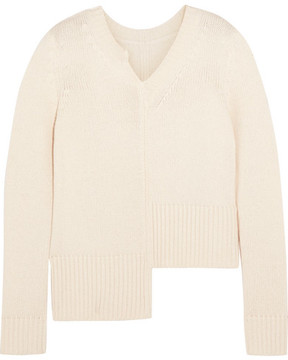 ADAM by Adam Lippes Asymmetric Ribbed Merino Wool And Cashmere-blend Sweater - Ivory
