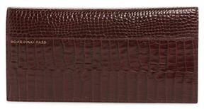 Smythson Women's Mara Slim Croc Embossed Leather Travel Wallet - Burgundy