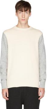 Rag & Bone Grey and Ivory Victor Crew Sweater